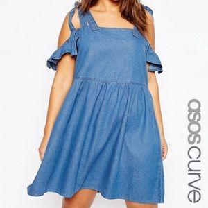 ASOS Curve Denim Easy Smock Dress W/Cold Shoulder